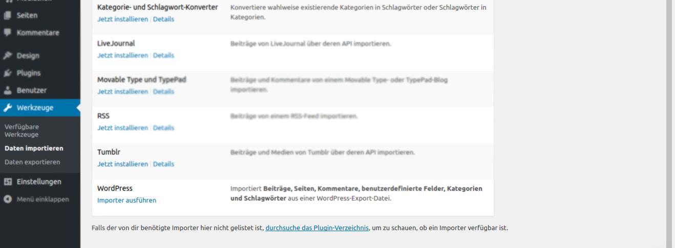 install - Umzug von Wordpress auf eigenen Server