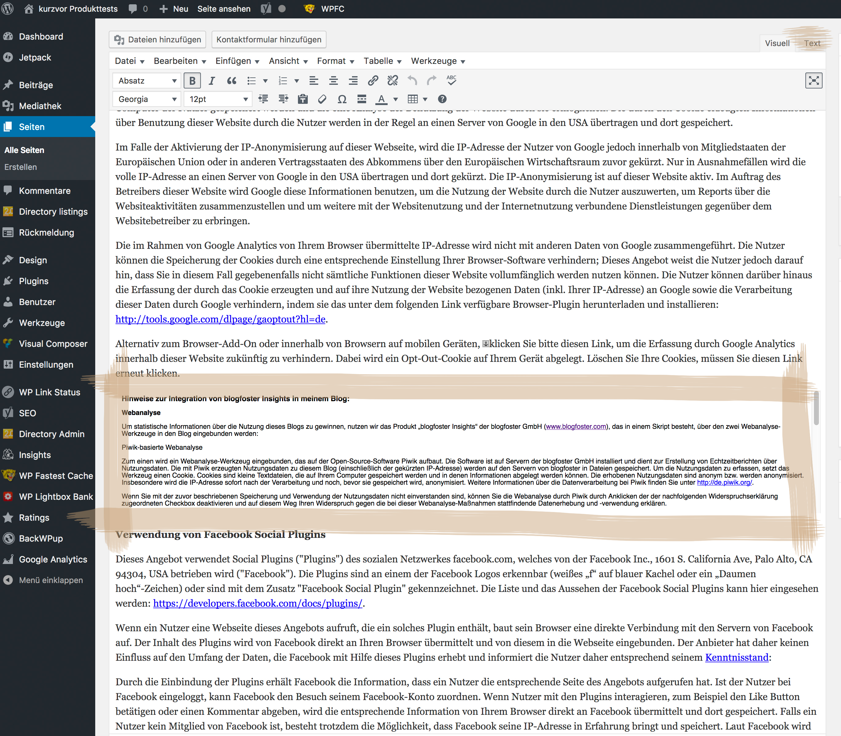 Datenschutz - Das Kleingedruckte bei Blogfoster