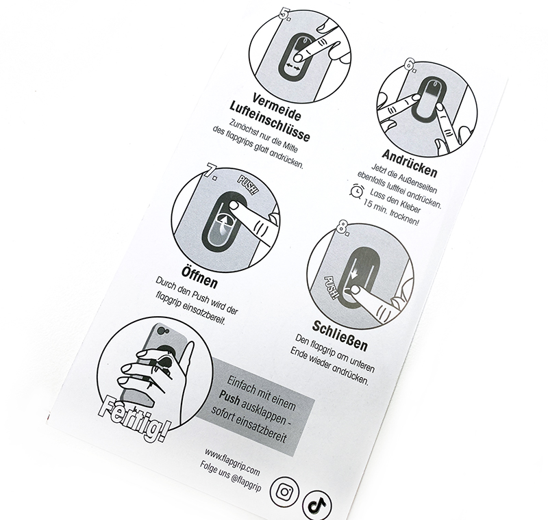 anleitung - flapgrip Smartphone-Halterung