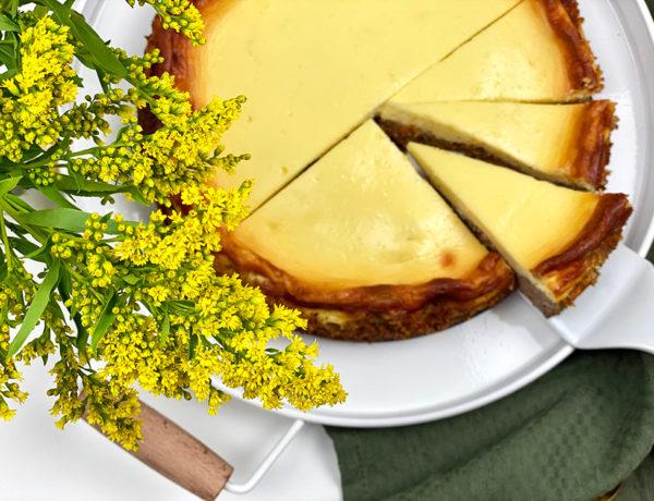 cheesecake oben 600x460 - Cremiger Karotten-Käsekuchen