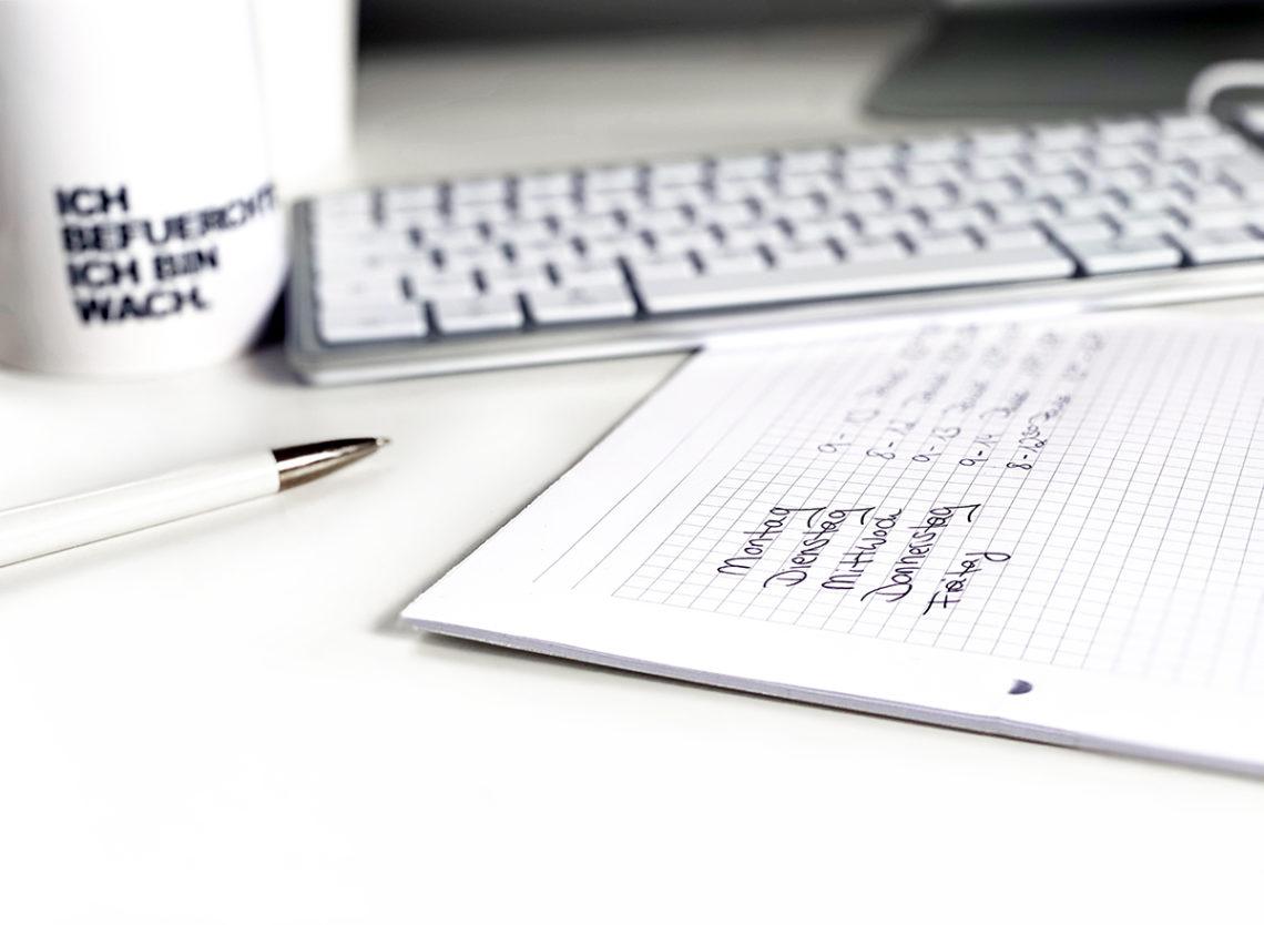 HomeOffice Zeitplan 1140x834 - Mehr Konzentration und Entspannung im HomeOffice